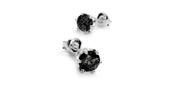 Náušnice SWAROVSKI elements s kamienkom 6 mm - čierne
