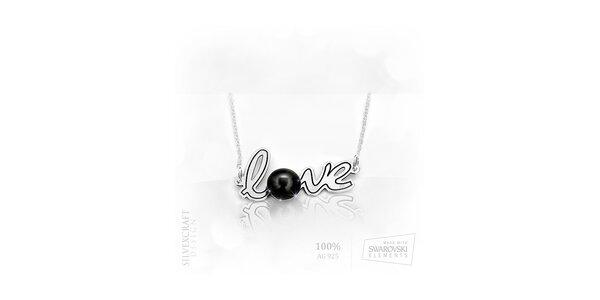 """Náhrdelník """"Love"""" s perlou SWAROVSKI elements zo 925 striebra - čierny"""