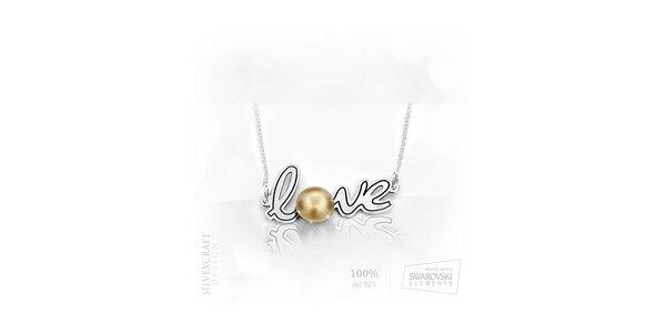 """Náhrdelník """"Love"""" s perlou ze SWAROVSKI elements zo 925 striebra - zlatý"""