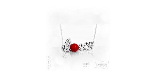 """Náhrdelník """"Love"""" s perlou SWAROVSKI elements zo 925 striebra - červený"""