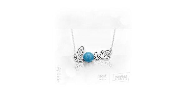 "Náhrdelník ""Love"" s perlou SWAROVSKI elements zo 925 striebra - tyrkysový"