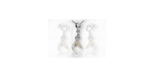 Strieborný prívesok s perlou SWAROVSKI elements s retiazkou - biely