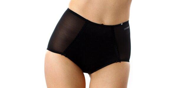 Dámske čierne vysoké nohavičky s bodkami DKNY