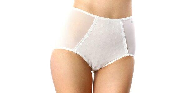 Dámske biele vysoké nohavičky s bodkami DKNY
