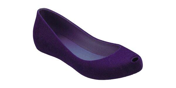 Dámske fialové baleríny Malissa s otvorenou špičkou a semišovou úpravou