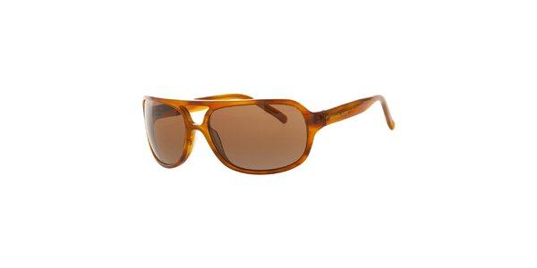 Pánske jantarové žihané slnečné okuliare Michael Kors