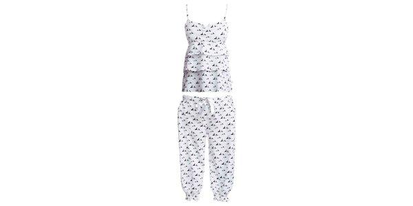 Dámsky set košielky a 3/4 pyžamových nohavíc s potlačou psíkov MaybeBlu
