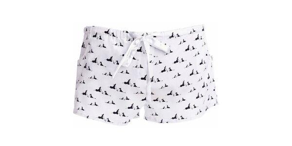 Dámske krátke pyžamové šortky s potlačou psíkov MaybeBlu