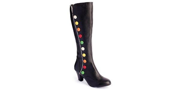 Dámske čierne kožené čižmy s farebnými cvočkami Lola Ramona