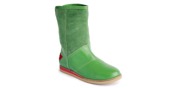 Dámske zelené nízke čižmy s mašľou Lola Ramona