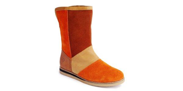 Dámske oranžové nízke čižmy s mašľou Lola Ramona