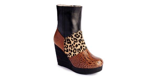 Dámske hnedo-čierne čižmy na platforme Lola Ramona