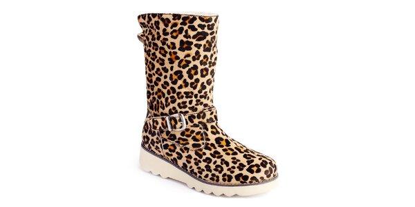Dámske čižmy so vzorom leopardej kože Lola Ramona