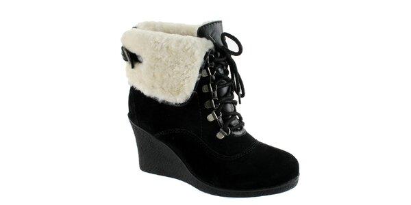 Dámske čierne členkové topánky s baránkom Lola Ramona