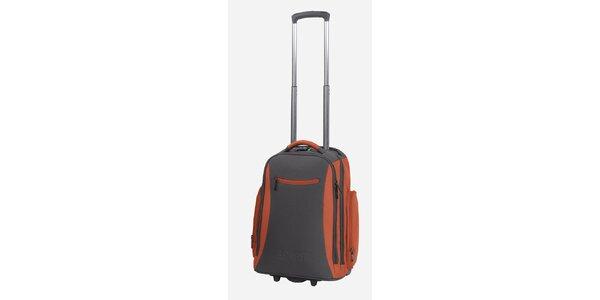 Šedo-oranžový batoh na kolieskach Esprit