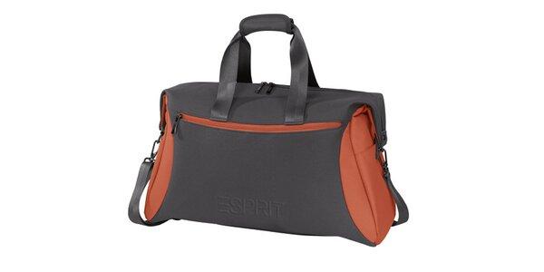 Šedo-oranžová športová taška Esprit
