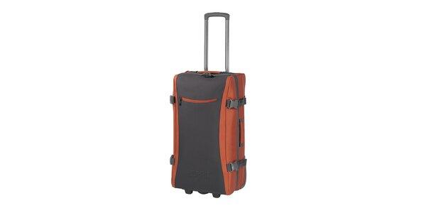 Šedo-oranžová cestovná taška na kolieskach Esprit