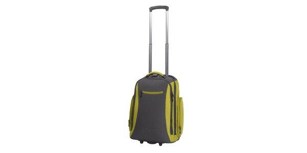 Šedo-zelený batoh na kolieskach Esprit