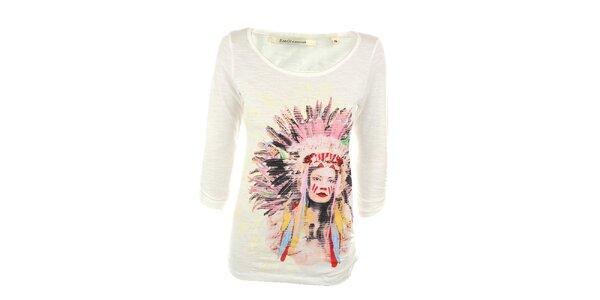 Dámske biele tričko s indiánkou Emoi