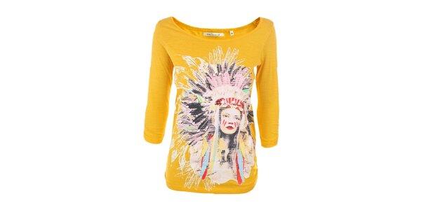 Dámske žlté tričko s indiánkou Emoi