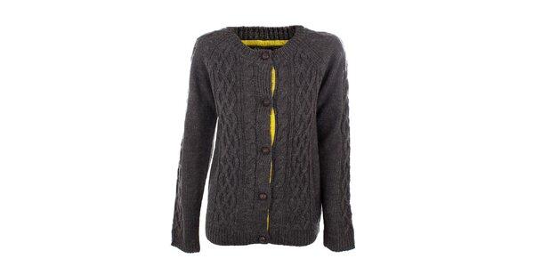 Dámsky tmavo šedý pletený prepínací sveter Emoi