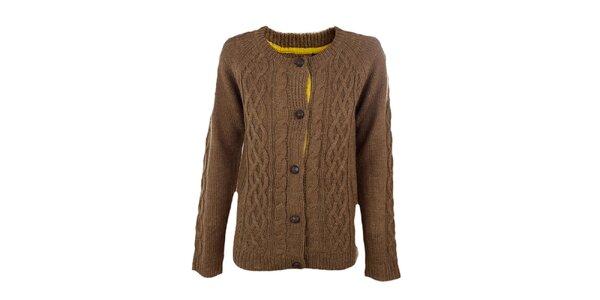 Dámsky hrdzavo-hnedý pletený prepínací sveter Emoi