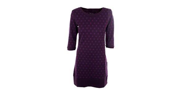 Dámske fialové šaty s bodkami Emoi