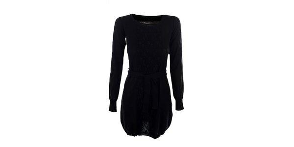 Dámske čierne šaty Emoi s opaskom