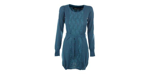 Dámske modré šaty Emoi s opaskom
