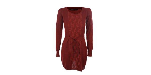 Dámske vínové šaty Emoi s opaskom