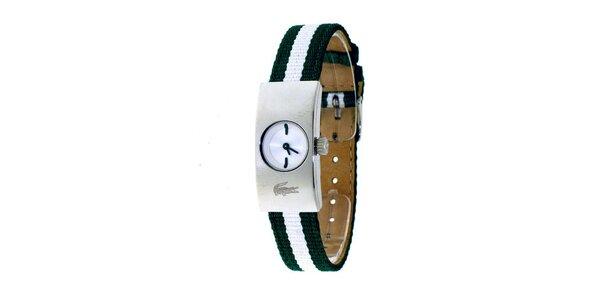 Dámske hodinky Lacoste so zeleno-bielym remienkom