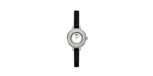 Dámske hodinky Lacoste s kamienkami a čiernym remienkom