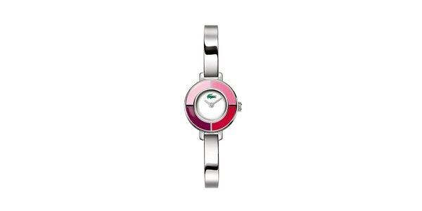 Dámske strieborné hodinky Lacoste s ružovými detailami
