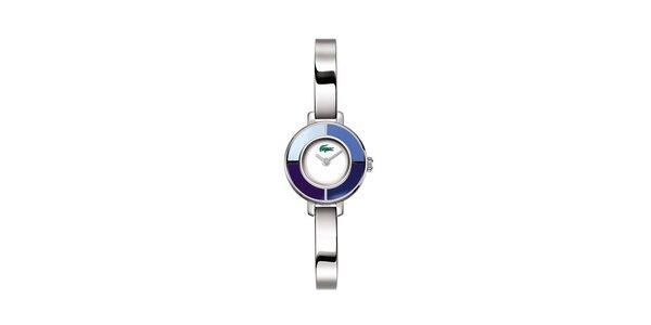 Dámske strieborné hodinky Lacoste s modrými detailami