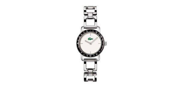 Dámske strieborné hodinky Lacoste s čiernymi detailami