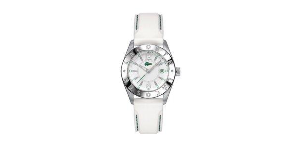 Dámske hodinky Lacoste s bielym prešívaným remienkom