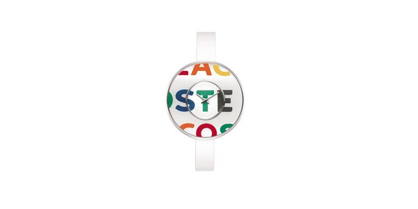 Dámske biele hodinky Lacoste s farebným logom