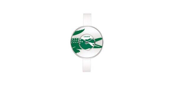 Dámske biele hodinky Lacoste s velkým zeleným logom