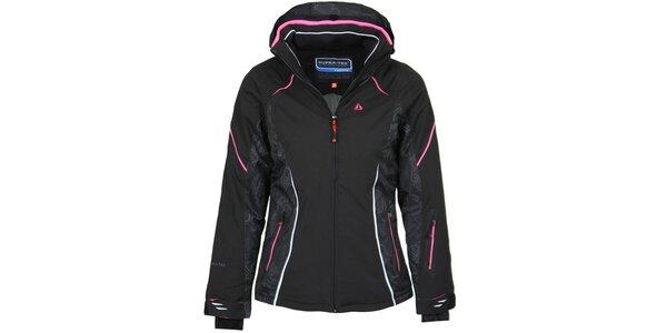 Dámska čierna lyžiarska bunda s ružovými detailmi Bergson