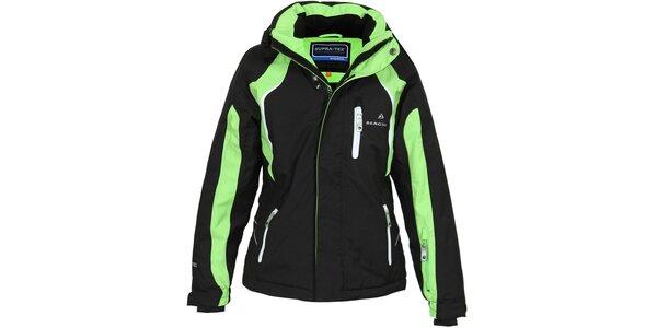 Detská čierno-zelená lyžiarska bunda Bergson