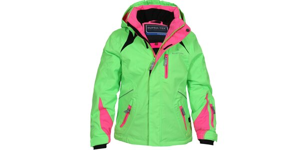 Detská zeleno-ružová lyžiarska bunda Bergson