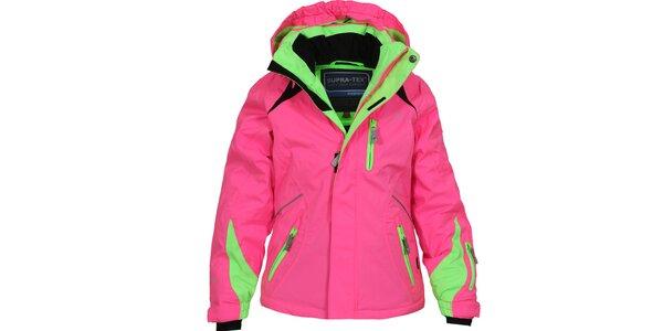 Detská ružovo-zelená lyžiarska bunda Bergson