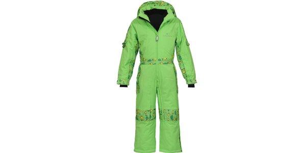 Detská zelená funkčná lyžiarska kombinéza Bergson