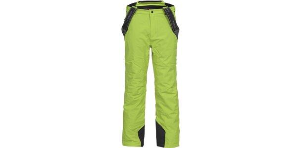 Pánske zelené lyžiarske nohavice s trakmi Bergson