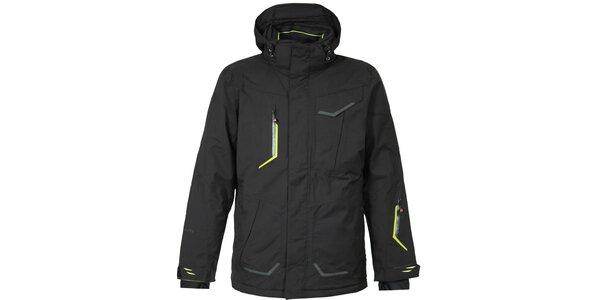 Pánska čierna lyžiarska bunda Bergson so zelenými detailmi