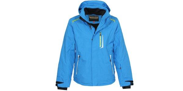 Pánska modrá lyžiarska bunda so zelenými detailmi Bergson