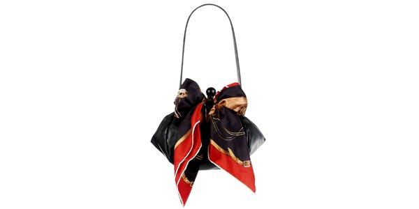 Dámska čierna kožená kabelka so šatkou Liedownithinkiloveyou