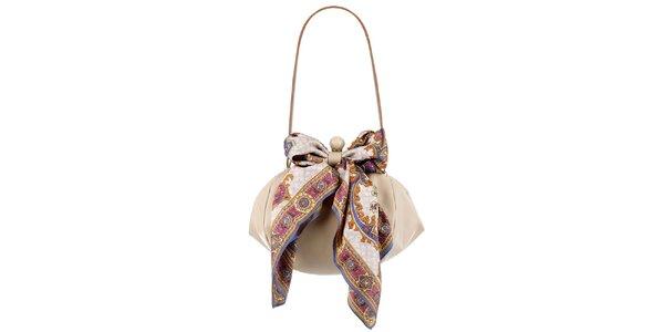 Dámska béžová kožená kabelka so šatkou Liedownithinkiloveyou