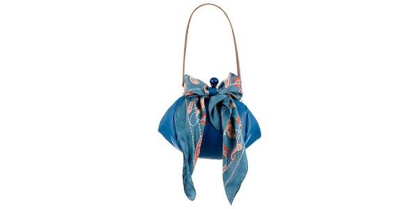 Dámska tyrkysová kožená kabelka so šatkou Liedownithinkiloveyou