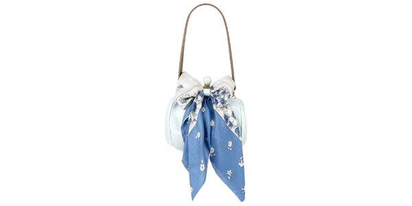 Dámska svetlo modrá kožená kabelka so šatkou Liedownithinkiloveyou